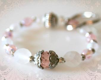 Keychain Bracelet - Pink & Frosted Opal with Heart Keyring. Handless Key Chain. Wristlet Keyring. Wrist Key Fob