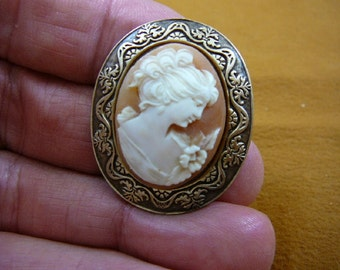 classic Woman with curled updo hair looking down oval hand carved shell CAMEO brass pin pendant c1370