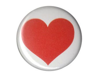 """Heart Red Button Pin Pinback Badge Pinback Button 1"""" ONE INCH handmade homemade"""