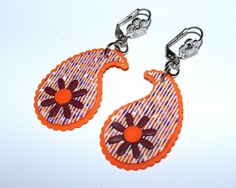 Feminine Paisly Earrings - Litht Weight Orange Burgundy Polymer clay earrings