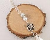 SALE Lanyard, lotus flower, lotus, yoga, chain, work badge necklace.