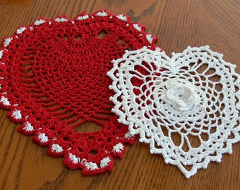 Red and White Heart doily Set,  Hand Crocheted