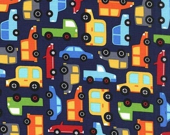 Michael Miller Fabric Traffic Jam Dot in Navy, Choose your cut