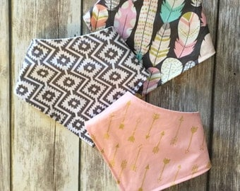 Baby Toddler Drool Bib Bandana Bibdana Waterproof - You Choose the Fabric - trendy feathers aztec gold metallic pink grey