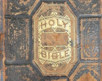 Large Antique 1800's Family Bible With Recorded Marriage and Births from Rustysecrets