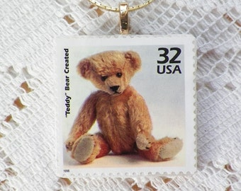 Mixed Media US Postage Stamp Teddy Bear / Stuffed Vintage Bear Square Pendant / Necklace, New Mother, Baby Sitter, Daycare Teacher Gift