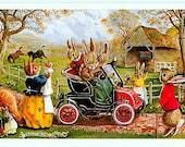 Vintage Medici Society Postcard - The New Car -- Artist Signed, Racey Helps (Unused)