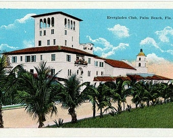 Vintage Florida Postcard - The Everglades Club, Palm Beach (Unused)