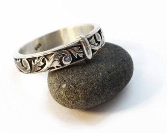 Thistle Band - Solid Sterling - Highlander - Wedding - Sporran - Blade Key - Filigree Antique - Celtic - Scotland Flower - Sassenach