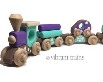Brown, Blue and Purple Painted Wooden Toy Train Hand Made and Hand Painted SIX CARS. Ready to Ship today.