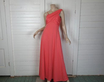 70s One Shoulder Goddess Dress in Hot Coral Pink- 1970s Prom / Formal / Maxi- Small