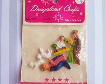 Vintage Miniature Nativity Figures- Charms Rare Find, 5 pieces In Origional Package