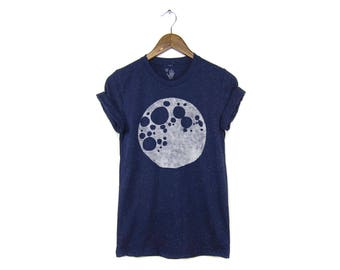 Full Moon Tee - Boyfriend Fit Crew Neck T-shirt with Rolled Cuffs in Heather Rainbow Speckle Navy Blue & Gold - Women's Size S-3XL