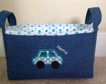 Personalized fabric storage bin or basket. Childs gift basket. Easter basket. Denim basket with car.