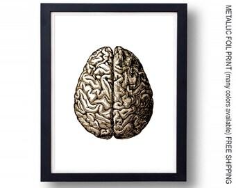 Brain Illustration - Foil Print 28 Colors Available