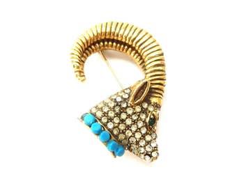 Stunning 50's or 60's Signed Richelieu Chunky Gold Tone Metal & Rhinestone Aries Zodiac / Rams Head Vintage Brooch