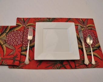 4 Eco Silk Placemats Napkins Reversible Washable Red Green Gold Purple Upcycled Fabrics