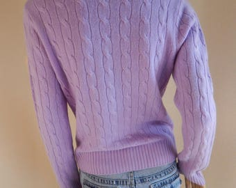 lavender cashmere sweater, cashmere cable, purple sweater