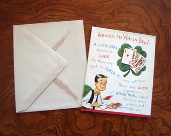 1950s Vintage LUCK POKER Get Well Card 4 Leaf Clover Unused with Envelope by Sterling Chicago