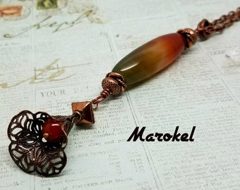 Red Green Agate Necklace Copper Filigree flower Red Agate Tube