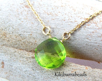 Peridot Necklace, August Birthstone Necklace, Gold Filled Necklace, Solitaire Necklace, Layering Necklace, Gemstone Jewelry