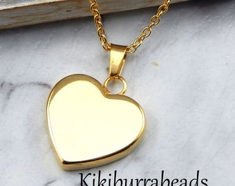 Gold Heart Necklace,Reversable Gold Heart,Gold Heart,Mothers Necklace,Girlfriend Necklace,Wife Necklace,Sisters