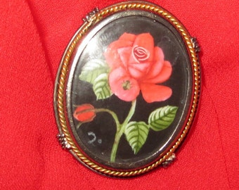 Antique Italy Painted Rose Lady Bug Brooch or Pendant 800 Silver