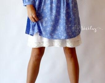 HLC- Pretty Lace & Chiffon Layers Dress Extender HALF SLIP  *Style L * size S-2XL
