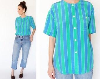 SPRING SALE vintage 90s SILK blue + green Striped blouse S-M