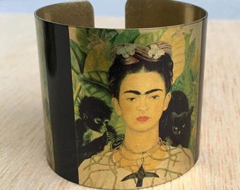 Frida Kahlo Bracelet, Frida Kahlo Jewelry, Frida Art Bracelet, Monkey Cat Bracelet, Frida Bohemian Cuff, Gift for Her, Gift for Him