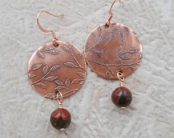 Red Creek Jasper Etched Copper Leaf Dangle Earrings