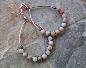 Aqua Terra Jasper Teardrops - Wire Wrapped - Antiqued Copper - Boho Style Jewelry - Southwestern Look