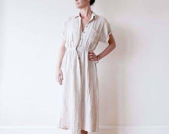 New for summer!! Shirtdress / Duster coat - vintage sportswear - activewear - yoga wear - dance wear. Denim and striped linen. Onesize