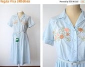 20% SALE 1950s Deadstock Blue Floral Embroidered Dress - XL Plus Size 34 Waist