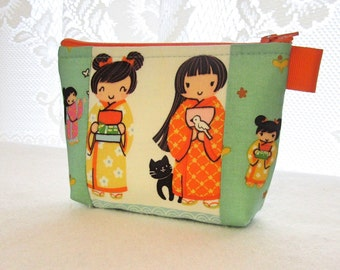 Kawaii Japanese Girls Cats Cosmetic Bag Fabric Zipper Pouch Makeup Bag Alexander Henry Fabric Gadget Pouch Indochine A Chan Turquoise Orange