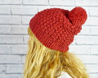 Chunky Knit Wool Bobble Hat - Dark Red, Pom Pom Hat, Hand Knitted Hat,  READY TO SHIP