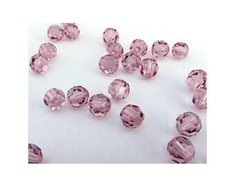 4mm Light Amethyst Swarovski Round Crystal Beads - (32)
