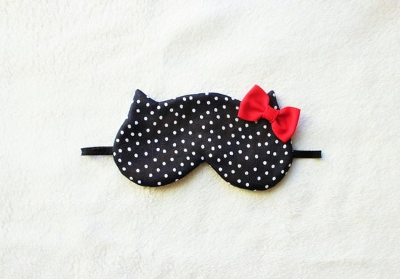 Red Bow Silk Cat Sleep Eye Mask