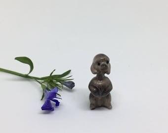 Vintage Miniature Poodle Figurine - Hagen Renaker - Bone China Animal - Very Tiny!