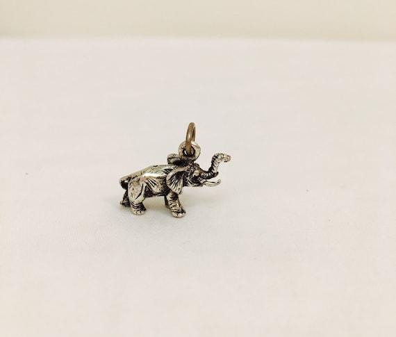 Sterling Elephant Charm or Pendant - Vintage Sterling Silver - Figural - 3D