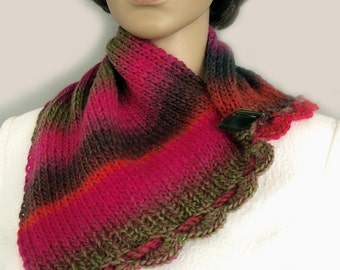Neckwarmer, Scarflette, Buttoned cowl, Wool scarf, Wool cowl, Scarf collar, Fall scarf, Fall cowl, Winter scarf, Wool cowl, Gift for her
