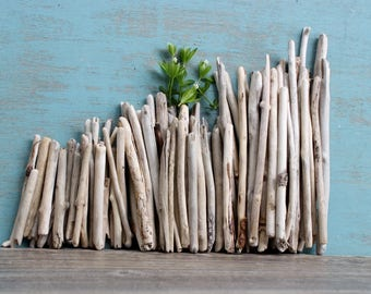 Natural Driftwood Sticks for Beach Wedding Decoration , Artist Supply , bulk Drift Wood ,78 Surf Tumbled Pieces ST78