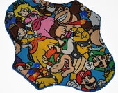 Liner Core- Mario Faces Reusable Cloth Pantyliner Pad- WindPro Fleece- 8.5 Inches