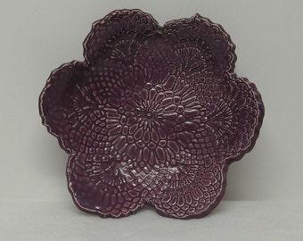Handbuilt Pretty Purple Doily Impressed Shallow Bowl