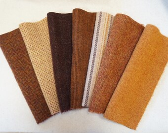 Pumpkin - Brown - Black - Wool Fabric Bundle Felted - Fall Tones Perfect Rug Hooking and Applique Wool by Quilting Acres