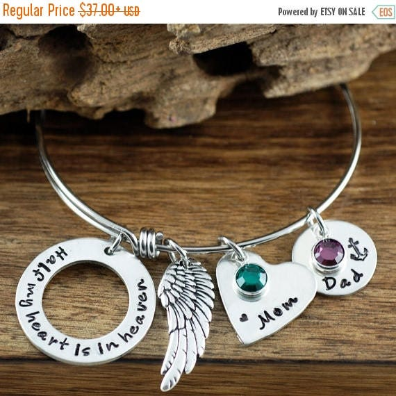 15% OFF SALE Half My Heart is In Heaven Bangle Bracelet, Bereavement Jewelry, Memorial Bangle Bracelet, Hand Stamped Charm Bracelet, Angel W