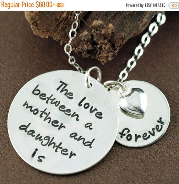 15% OFF SALE The love between a Mother & Daughter is forever,Mother Daughter Necklace, Hand Stamped Mommy Necklace,  Mothers Day Gift, Gift