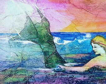 MERMAID Painting ZEN Inspired Watercolor on Tissue Art Gypsy Bohemian Goddess Gaia Portrait Lynne French