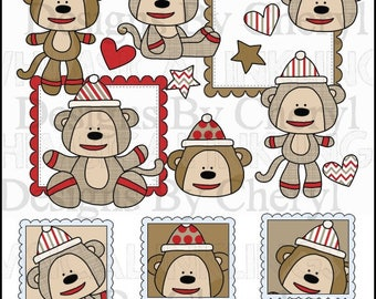 Sock Monkey Love Clipart Collection - Immediate Download