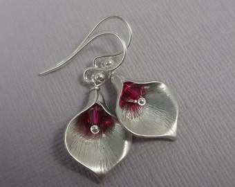 Calla Lily Earrings with Ruby Crystals, Ruby Earrings, Calla Earrings, Wedding Earrings, Gift for Her, Gift for Mom, Ruby Red Earrings
